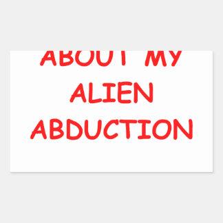 alien abduction rectangular sticker