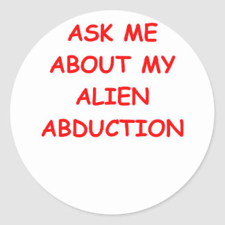 alien abduction round sticker