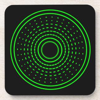 Alien Alarm Green Abstract Gamma Light Coasters