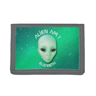 Alien Am I Green Funny Alien Face With Black Eyes Trifold Wallets