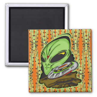 Alien and Flying Saucer UFO Square Magnet