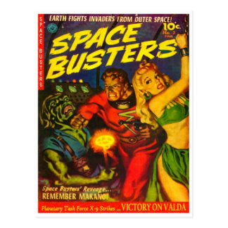 Alien and Spaceman Fighting Over Beautiful Woman Post Card