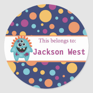 Alien back to school personalized round stickers