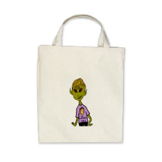 Alien Boy - Humans Rock Tote Bags