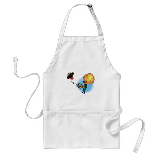 Alien boy with toy flying saucer apron