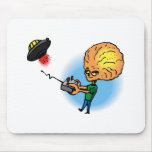 Alien boy with toy flying saucer mouse pad
