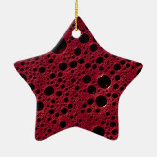 Alien bubbles bordeaux texture ceramic star decoration