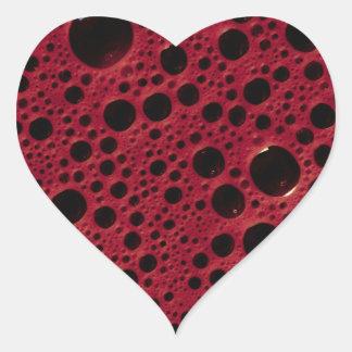 Alien bubbles bordeaux texture heart sticker
