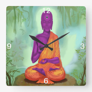 Alien Buddha Meditation wall clock