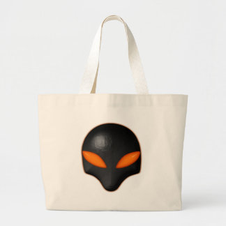 Alien Bug Face Orange Eyes Large Tote Bag