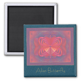 Alien Butterfly Abstract Art Square Magnet