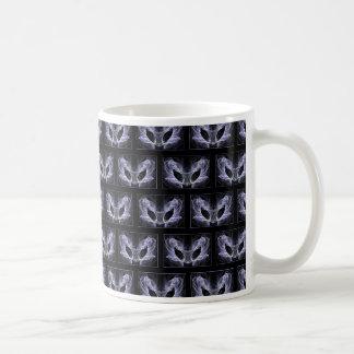 Alien Cat Pattern. Fractal. Purple, Black. Coffee Mugs
