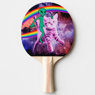 Alien cat - rainbow cat - space cat ping pong paddle
