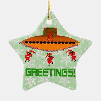 Alien Christmas Ceramic Star Decoration