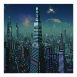 Alien City with UFO in Sky Poster