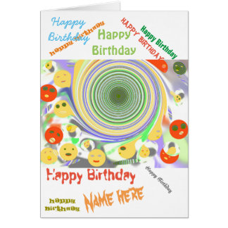 Alien Creatures, happy birthday name front Greeting Card