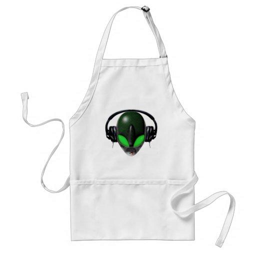 Alien DJ Music Lover  - Reptile Green Aprons