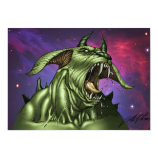 Alien Dog Monster Warrior by Al Rio Customized Announcement Card