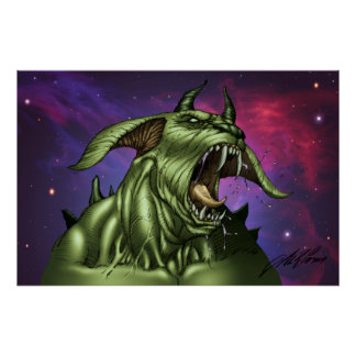 Alien Dog Monster Warrior by Al Rio Posters
