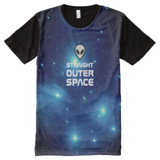 Alien Emoji with Outer Space Sci Fi Scene All-Over Print T-Shirt
