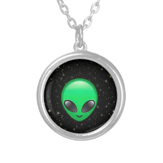 alien emojis silver plated necklace