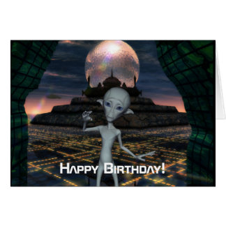 Alien Encounters Happy Birthday Card