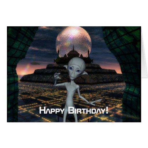 Alien Encounters Happy Birthday Card