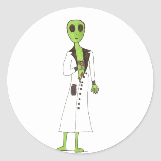 Alien Exposed Stealing Candy Round Stickers