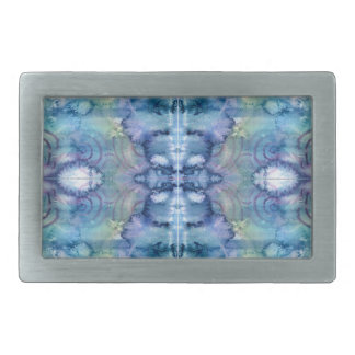Alien Face in Blues and Greens Watercolour Belt Buckle