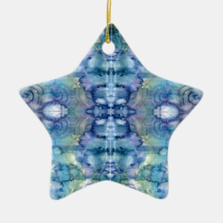 Alien Face in Blues and Greens Watercolour Ceramic Star Decoration