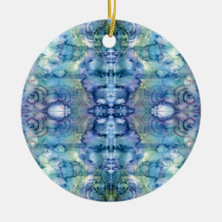 Alien Face in Blues and Greens Watercolour Christmas Ornament
