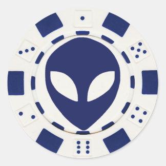alien face poker chip white stickers