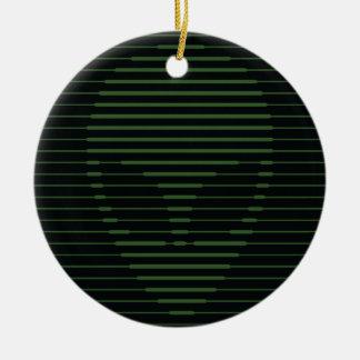 Alien face round ceramic decoration