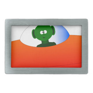 Alien Flying Saucer Rectangular Belt Buckles