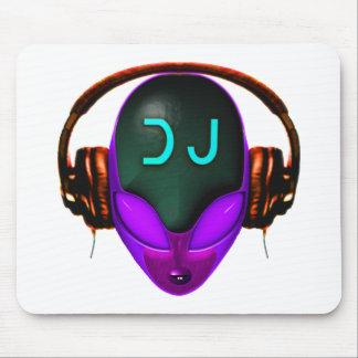 Alien Futuristic DJ with Headphones. Violet eyes Mouse Pad