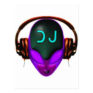 Alien Futuristic DJ with Headphones. Violet eyes Postcard