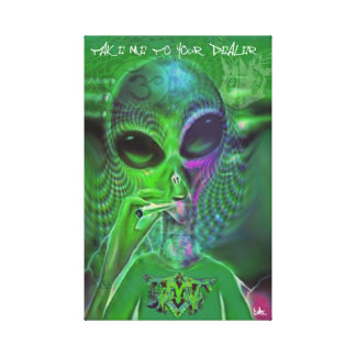 ALIEN GRAFFITI CANVAS TAKE ME TO YOUR DEALER RETRO STRETCHED CANVAS PRINT