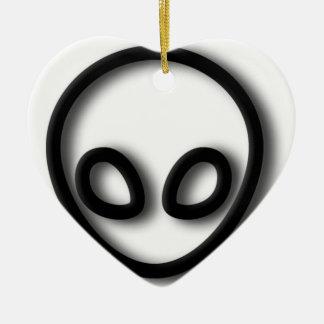 Alien Gray Design Ceramic Heart Decoration