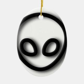 Alien Gray Design Ceramic Oval Decoration