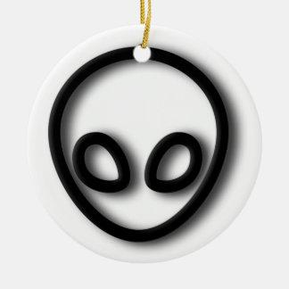 Alien Gray Design Round Ceramic Decoration