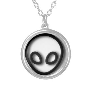 Alien Gray Design Silver Plated Necklace