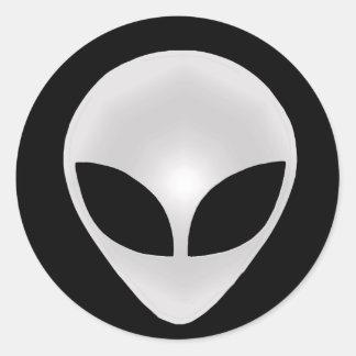 Alien Grey Head Classic Round Sticker