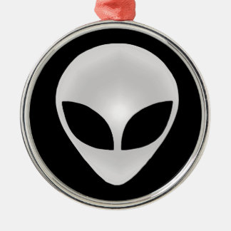 Alien Grey Head Silver-Colored Round Decoration
