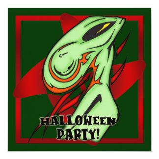 """Alien Halloween Party Invitation 5.25"""" Square Invitation Card"""
