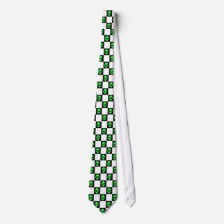 Alien Head Black & White Checkerboard Neck Tie