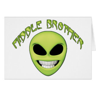 Alien Head Middle Brother Stationery Note Card