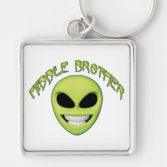 Alien Head Middle Brother Silver-Colored Square Key Ring