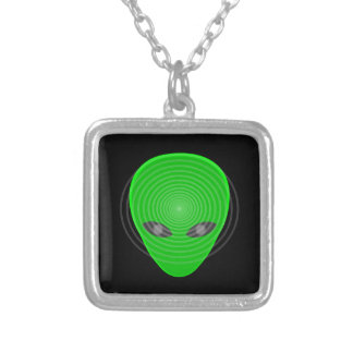 Alien Head Mind Control Silver Plated Necklace