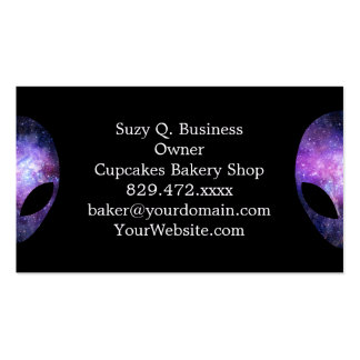 Alien Head With Conceptual Universe Purple Pack Of Standard Business Cards