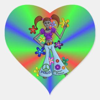 Alien Hippy Heart Heart Sticker